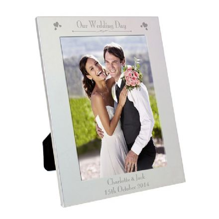 Personalised Silver Our Wedding Day 5x7 Photo Frame